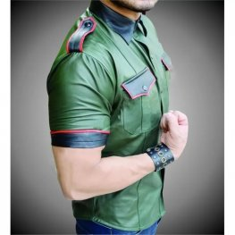 Mens Very Hot Genuine Green Leather Shirt