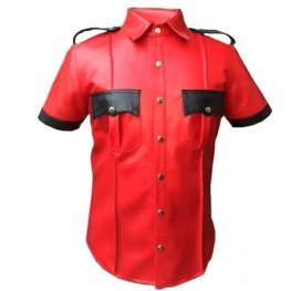 Mens Very Hot Genuine Red Leather Shirt