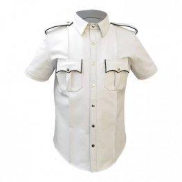 Mens Very Hot Genuine White & Black Leather Shirt