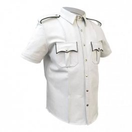 Mens Very Hot Genuine White & Black Leather Shirt