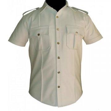 Mens Very Hot Genuine White Leather Shirt