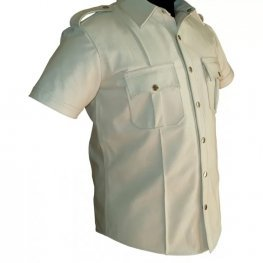 Mens Very Hot Genuine White Leather Shirt