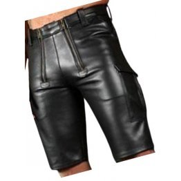 Double Front Zipper Real Sheepskin Black Leather Cargo Shorts For Men