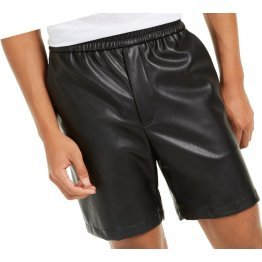 Men Casual Look Real Sheepskin Black Leather Shorts