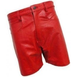 Men Casual Outwear Real Sheepskin Red Leather Shorts