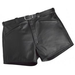 Men Cool Fashion Real Sheepskin Black Leather Shorts
