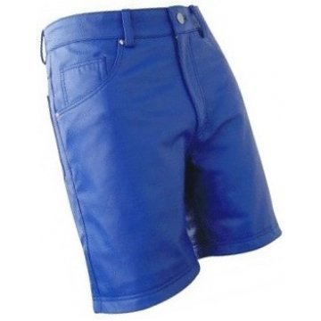 Men Cool Fashion Real Sheepskin Blue Leather Shorts