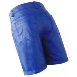 Men Cool Fashion Real Sheepskin Blue Leather Shorts