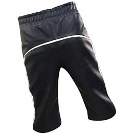 Men Designer Real Sheepskin Black Leather Shorts Cargo