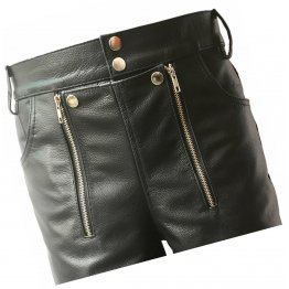 Men Double Zipper Snap Button Front Real Sheepskin Black Leather Shorts
