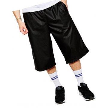 Men Dude Look Real Sheepskin Black Leather Shorts Bermuda