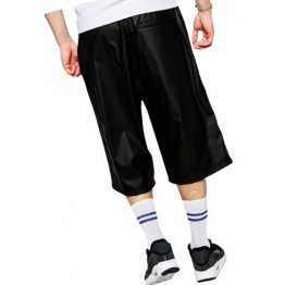 Men Dude Look Real Sheepskin Black Leather Shorts Bermuda