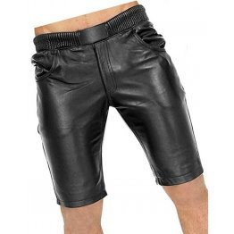 Men Elastic Waist Joggers Real Sheepskin Black Leather Shorts