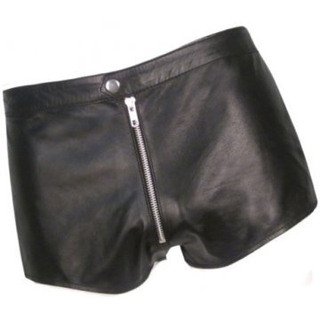 Men Front Zip Closure Real Sheepskin Black Leather Shorts