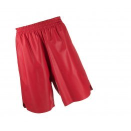 Men Knee Length Elastic Waist Real Sheepskin Red Leather Shorts