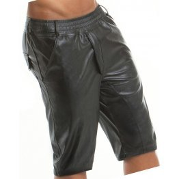 Men Military Style Real Sheepskin Black Leather Shorts
