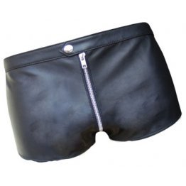 Men One Way Front To Back Zip Closure Real Sheepskin Black Leather Shorts