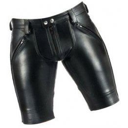 Men Saddle Seat Real Sheepskin Black Leather Shorts