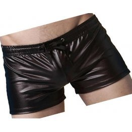 Men Sexy Hot Real Sheepskin Black Leather Shorts