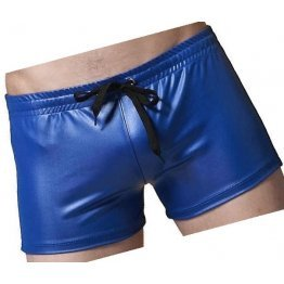 Men Sexy Hot Real Sheepskin Blue Leather Shorts