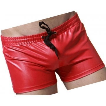 Men Sexy Hot Real Sheepskin Red Leather Shorts