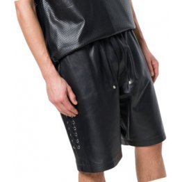 Men Side Lace-Up Basketball Real Sheepskin Black Leather Shorts