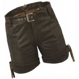 Men Smart Wear Real Sheepskin Dark Brown Leather Shorts