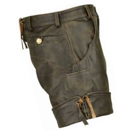 Men Smart Wear Real Sheepskin Vintage Brown Leather Shorts