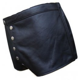 Men Snap Button Fly Real Sheepskin Black Leather Shorts