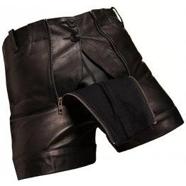 Men Unique Fashion Real Sheepskin Black Leather Shorts
