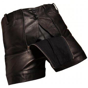 Men Unique Fashion Real Sheepskin Black Leather Shorts