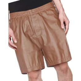 Men Zipper Pockets Real Sheepskin Brown Leather Shorts