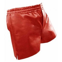 Mens Athletes Real Sheepskin Red Leather Shorts