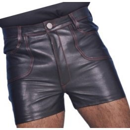 Mens Club Wear Real Sheepskin Navy Blue Leather Shorts