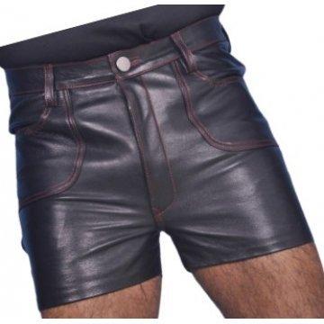 Mens Club Wear Real Sheepskin Navy Blue Leather Shorts