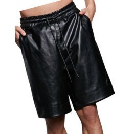 Mens Comfort Fit Real Sheepskin Black Leather Bermuda Shorts