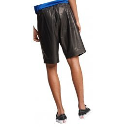 Mens Comfortable Real Sheepskin Black Leather Shorts