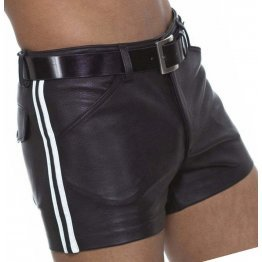 Mens Cool Look Real Sheepskin Black Leather Shorts