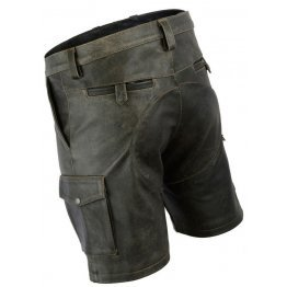 Mens Double Front Zipper Antique Leather Cargo Shorts
