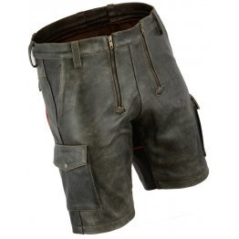 Mens Double Front Zipper Antique Leather Cargo Shorts With Red Looping