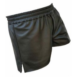 Mens Elastic Waist Athlete Real Sheepskin Black Leather Shorts