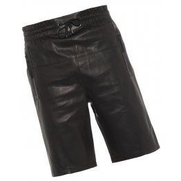 Mens Elastic With Drawstring Waist Real Sheepskin Black Leather Shorts