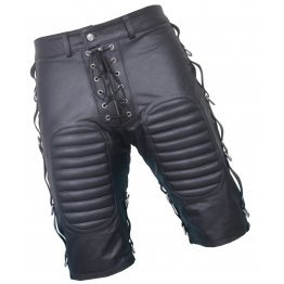 Mens Front Lace Up Quilted Real Sheepskin Black Leather Shorts