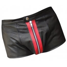Mens Front Red Panel Real Sheepskin Black Leather Shorts
