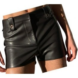 Mens High Fashion Real Sheepskin Black Leather Shorts