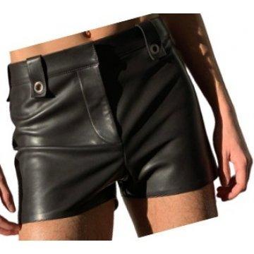Mens High Fashion Real Sheepskin Black Leather Shorts
