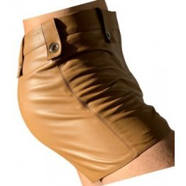 Mens High Fashion Real Sheepskin Tan Leather Shorts