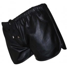 Mens Hot Elastic Waist Real Sheepskin Black Leather Shorts