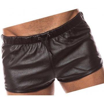Mens Hot Real Sheepskin Dark Brown Leather Shorts