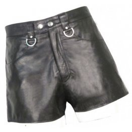 Mens Hot White Strip Real Sheepskin Black Leather Shorts